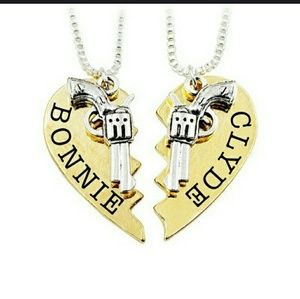 Jewelry - New: His & her Bonnie & Clyde Necklace